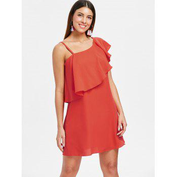 Skew Collar Flounce Dress - BRIGHT ORANGE 2XL