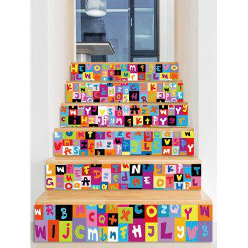 Letter Print Decorative Stair Stickers - multicolor 6PCS:39*7 INCH( NO FRAME )