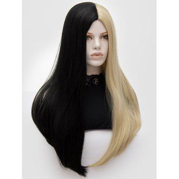 Long Middle Part Two Tone Straight Party Synthetic Wig - multicolor