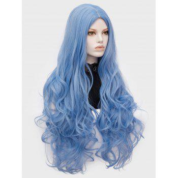 Long Center Parting Wavy Lolita Cosplay Synthetic Wig - BABY BLUE