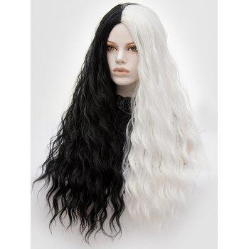 Long Middle Part Natural Wavy Colormix Party Synthetic Wig - multicolor