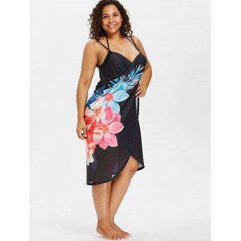 Printed Plus Size Long Wrap Cover-up Dress - BLACK L