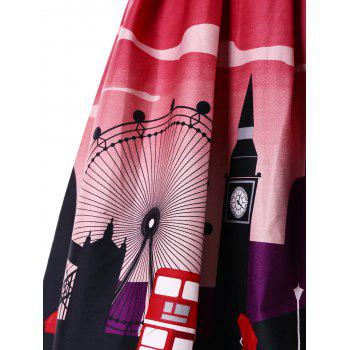 Double Straps Britain Image Print Dress - RED L