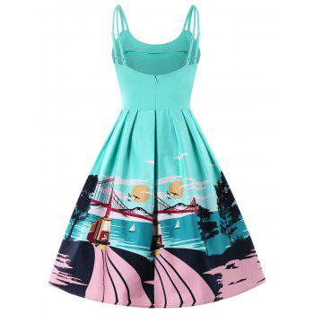 Open Back Double Straps Printed Dress - MACAW BLUE GREEN M