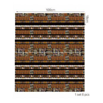 Wooden Print Decorative Stair Decals - multicolor 6PCS:39*7 INCH( NO FRAME )