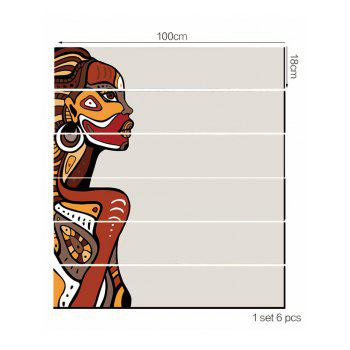 African Woman Printed Decorative Stair Decals - multicolor 6PCS:39*7 INCH( NO FRAME )