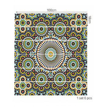 Ethnic Print Decorative Stair Stickers - multicolor 6PCS:39*7 INCH( NO FRAME )