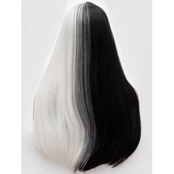 Center Parting Long Ombre Straight Cosplay Synthetic Wig - multicolor