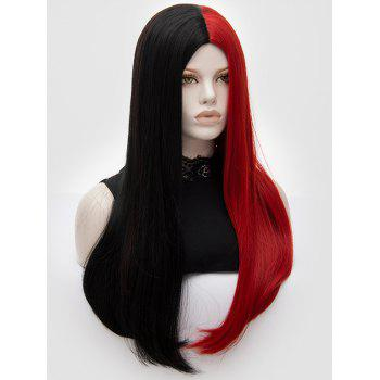 Long Middle Part Two Tone Party Straight Synthetic Wig - multicolor