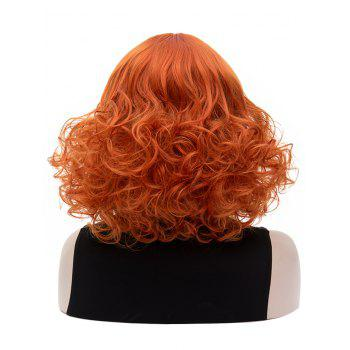 Medium Inclined Bang Curly Party Synthetic Wig - TANGERINE