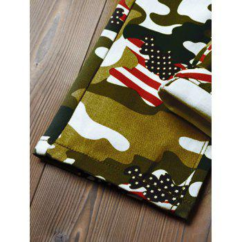Camo USA Flag Inspired Pencil Jeans - ACU CAMOUFLAGE 32
