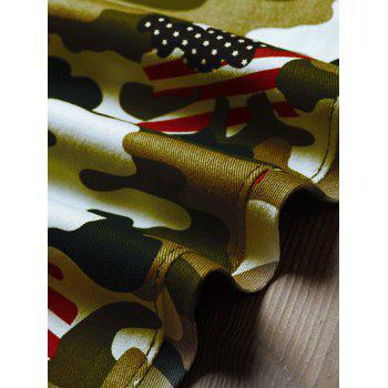 Camo USA Flag Inspired Pencil Jeans - ACU CAMOUFLAGE 36