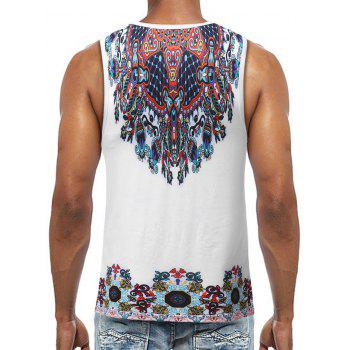 Ethnical Print Sleeveless T Shirt - WHITE XL