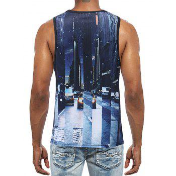 3D Letter Print Streetscape Sleeveless Tee - multicolor 3XL