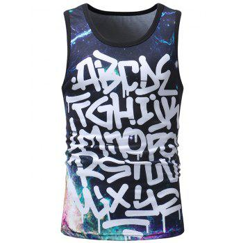 Letter Galaxy Print Sleeveless Tee - multicolor 2XL