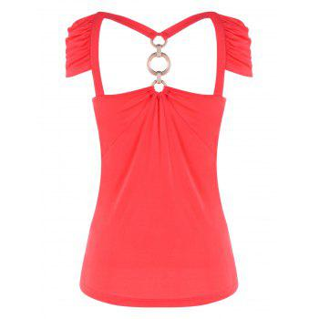 Bow Bust Cut Out T-shirt - RED 2XL
