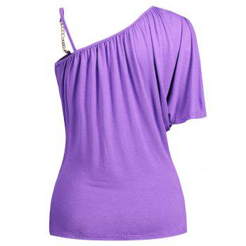 Chain Embellished Skew Neck Fitted T-shirt - PURPLE L