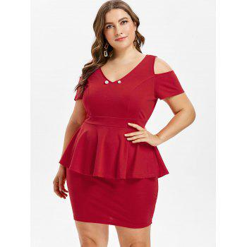 Plus Size Cut Out V Neck Fitted Dress - RED 2X