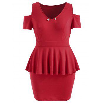 Plus Size Cut Out V Neck Fitted Dress - RED L