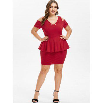 Plus Size Cut Out V Neck Fitted Dress - RED 5X