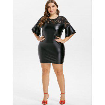 Plus Size Bell Sleeve Bodycon Dress - BLACK 1X