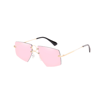 Unique Ring Bridge Rimless Sunglasses - LIGHT PINK