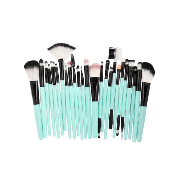 Set of 25Pcs Ultra Soft Fiber Hair Cosmetic Brush Set - LIGHT SEA GREEN