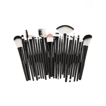 Set of 25Pcs Ultra Soft Fiber Hair Cosmetic Brush Set - NATURAL BLACK