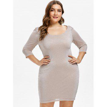 Plus Size Drape Back Bodycon Dress - ORANGE PINK L