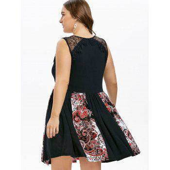 Plus Size Lace Yoke Empire Waist Dress - BLACK 2X