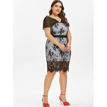 Plus Size Knee Length Lace Overlay Dress - BLACK 2X