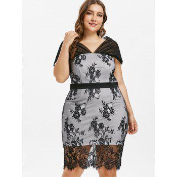 Plus Size Knee Length Lace Overlay Dress - BLACK 1X