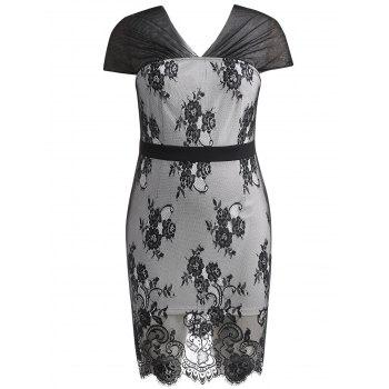 Plus Size Knee Length Lace Overlay Dress - BLACK 4X