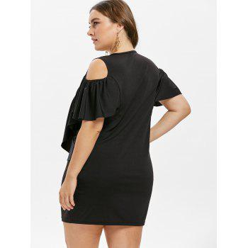 Open Shoulder Ruffle Insert Plus Size Mini Dress - BLACK 1X