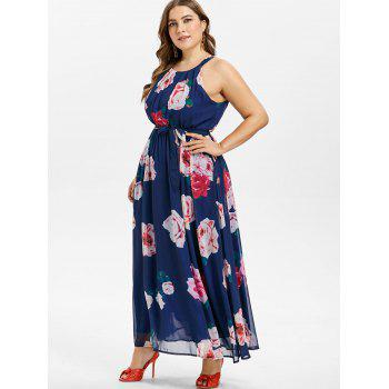 Plus Size Sleeveless Floral Dress - NAVY BLUE 1X