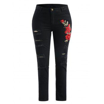 Plus Size Embroidery Ripped Jeans - BLACK L