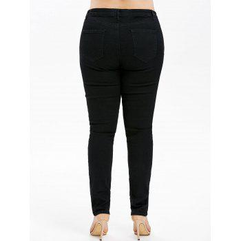 Plus Size Embroidery Ripped Jeans - BLACK 1X