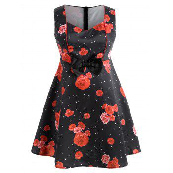 Polka Dot Vintage Plus Size Dress - RED 4X