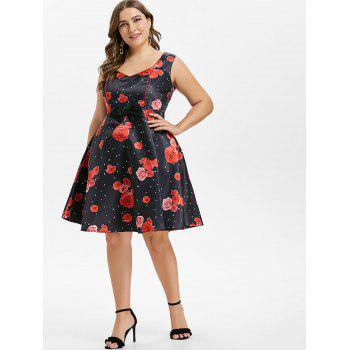 Robe à Pois Style Vintage Grande-Taille - Rouge 3X