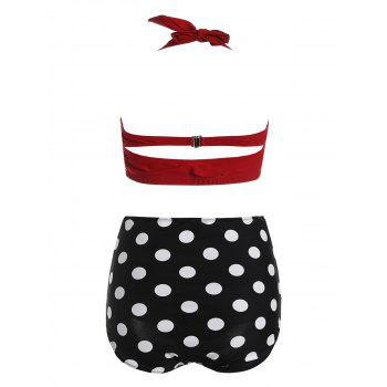 Plus Size Halter High Waist Polka Dot Bikini - RED 4XL