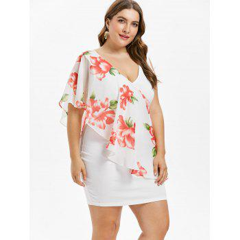 Plus Size Double V Neck Floral Mini Dress - WHITE L