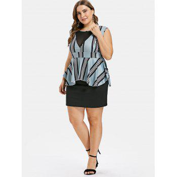 Plus Size Striped Ruffle Peplum Dress - MACAW BLUE GREEN 2X