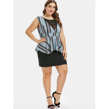 Plus Size Striped Ruffle Peplum Dress - MACAW BLUE GREEN 3X