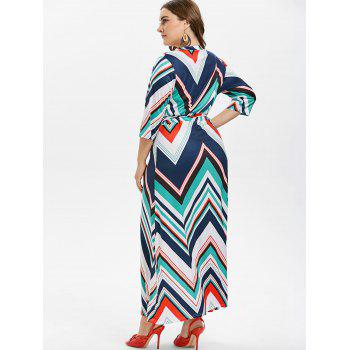 Plus Size Belted Zig Zag Dress - TURQUOISE L