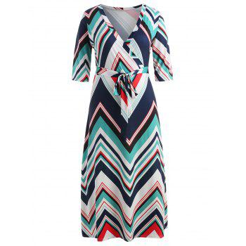 Plus Size Belted Zig Zag Dress - TURQUOISE 5X