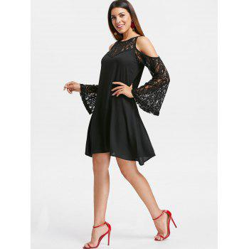 Cut Out Shoulder Lace Sleeve Straight Dress - BLACK S