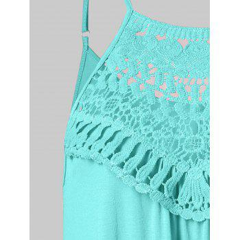 Lace Crochet Cami Tank Top - MINT GREEN M
