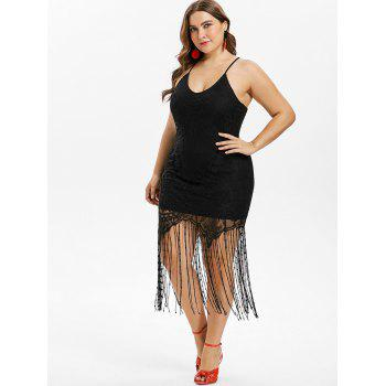 Plus Size Fringed Lace Bodycon Dress - BLACK 4X