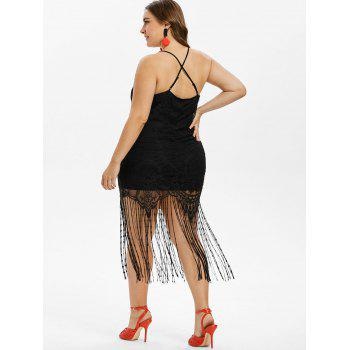 Plus Size Fringed Lace Bodycon Dress - BLACK 5X