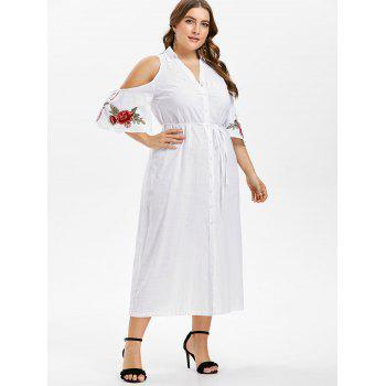 Plus Size Cold Shoulder Tie Belt Shirt Dress - WHITE 4X